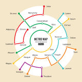 Metro Map Vector. Imaginary Underground Map. Colorful Background With Stations Royalty Free Stock Photography
