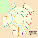 Metro Map Vector. Imaginary Underground Map. Colorful Background With Stations Royalty Free Stock Image