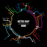 Metro Map Vector. Imaginary Underground Map. Colorful Background With Stations Stock Image