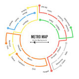 Metro Map Vector. Plan Map Station Metro And Underground Railway Metro Scheme Illustration. Colorful Background With vector illustration