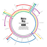 Metro Map Vector. Plan Map Station Metro And Underground Railway Metro Scheme Illustration. Colorful Background With Stock Image