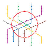 Metro Map Vector. Subway Map Design Template. Colorful Background With Stations.  royalty free illustration