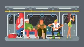 Metro met mensen vlak ontwerp Royalty-vrije Stock Afbeelding