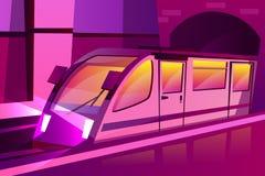 Metro moderno da velocidade do vetor, trem subterrâneo ilustração do vetor