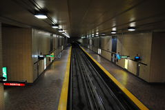 Metro montreal. St-Laurent, mtl, raille royalty free stock images