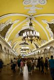 The metro of Moscow. The station hall of metro in Moscow is very famous and attractive to the tourists. The decoration style is splendid royalty free stock images