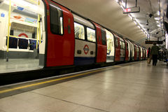 Metro. Moving in the London underground subway stock image
