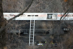 Metro North train derailment in the Bronx Royalty Free Stock Photos