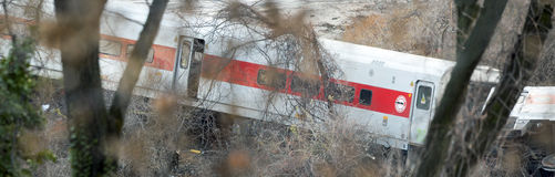 Metro North train derailment in the Bronx royalty free stock photography