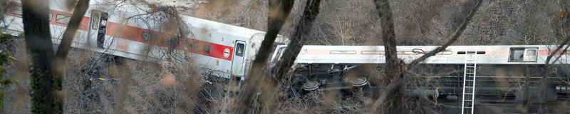 Metro North train derailment in the Bronx Royalty Free Stock Photo