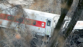 Metro North train derailment in the Bronx. BRONX, NEW YORK - DECEMBER 1: A Metro North train derails killing and injuring people near Spuyten Duyvil Station Stock Photo