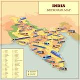 Metro Operacyjna i plan na przyszłość Sztachetowa mapa India ilustracja wektor