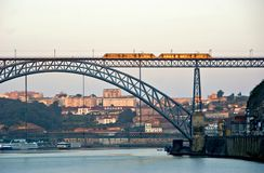 Metro over Bridge Luis I in Porto royalty free stock photos