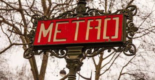 Metro Paris Sign. Metro sign, traditional Parisian downtown royalty free stock photos