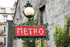 Metro paryski znak fotografia royalty free