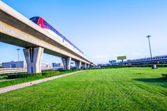 Metro pass through airport in Beijing china Royalty Free Stock Photography