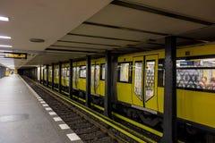 Metro platform in Berlin, Germany. BERLIN, GERMANY - AUGUST 6, 2016: Perspective view of subway platform in Berling, Germany. Image was taken on August 6, 2016 Stock Photo