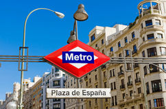 Metro Plaza de Espana. Plaza de Espana metro station in Madrid. Metro de Madrid plaque and symbol stock images