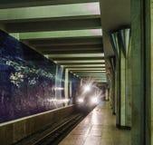 Metro pociąg przyjeżdża przy stacją tło plama zamazywał chwyta frisbee doskakiwania ruch Transport, metro Fotografia Stock