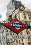 Metro podpisuje wewnątrz gran przez Obrazy Royalty Free