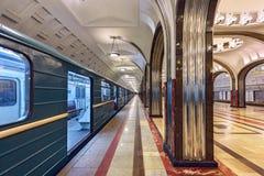 Metro post Mayakovskaya Moskou, Rusland Stock Foto's