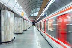 Metro post in Praag Stock Afbeelding