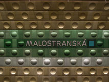 Metro post in Praag Royalty-vrije Stock Afbeelding