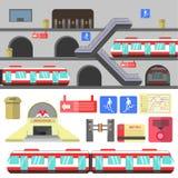 Metro rail station vector illustration. Stock Photos