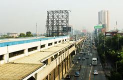 Metro rail transit - Electric train system and highway. A photograph of a railway system for an electric railway system in metro manila. It also features EDSA stock images