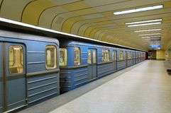 Metro railhead. Line 3, underground station in Budapest (Hungary stock photos