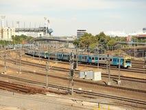 Metro rails and MCG near Flinders Street Station Royalty Free Stock Image