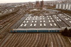 Metro railway depot in Novosibirsk, Russia. With a lot of rails going to the shed stock photo