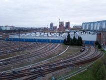 Metro railway depot in Novosibirsk, Russia. With a lot of rails going to the shed stock image