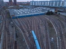 Metro railway depot in Novosibirsk, Russia. With a lot of rails going to the shed stock photography