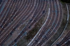 Metro railway depot in Novosibirsk, Russia. With a lot of rails going to the shed royalty free stock photos