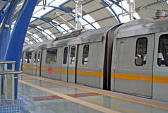 Metro Railway Transit New Delhi India. Brand New Delhi Railroad, Metro Mass Transit Public Transportation Railway System Delhi India stock image