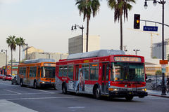 Metro Rapid Bus 757 followed by a Local bus 180 rolls down famou. LOS ANGELES - JANUARY 23:  Metro Rapid Bus 757 followed by a Local bus 180 rolls down famous Royalty Free Stock Photo