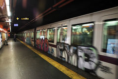 Metro of Rome. View of the underground metro in Rome - Italy 28/12/2016 stock photography