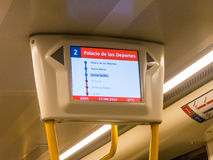 Metro route display. Route display inside a Malaga metro train royalty free stock photos
