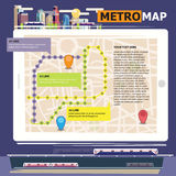 Metro scheme, railway transport and city bus map with city backg Royalty Free Stock Photo