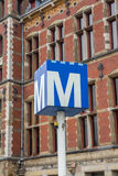 Metro sign at Amsterdam central station Royalty Free Stock Photography