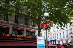 Metro sign art deco. Art deco of a  metro sign in paris Royalty Free Stock Photo