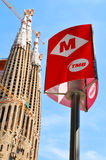 Metro sign in Barcelona Royalty Free Stock Image