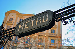 Metro sign, Barcelona. Metro sign in Barcelona, Spain Stock Photo