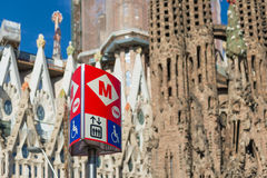 Metro sign. BARCELONA, SPAIN - JUNE 1, 2014: The Barcelona Metro is an extensive network of electrified railways that consists of 11 lines with 163 stations and stock photography