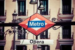 Metro Sign on blurred city, Madrid Stock Image