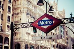 Metro Sign on blurred city, Madrid Royalty Free Stock Photography