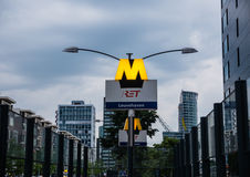 Metro sign in downtown Rotterdam Stock Photo