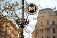 Metro sign. Lantern on the street in Budapest, hungary royalty free stock photos