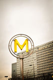 Metro Sign. M, metro sign in the street of Paris (France Stock Images